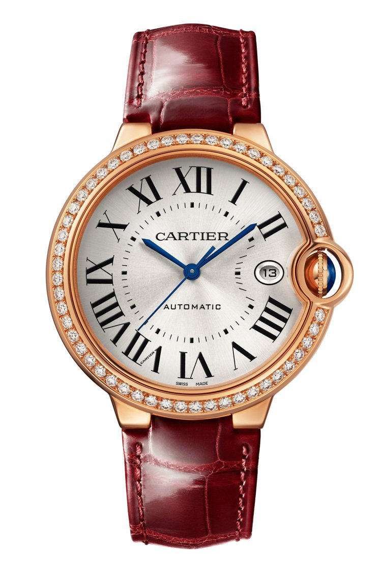 Ballon Bleu de Cartier 40毫米玫瑰金鑲鑽腕表,81萬元。...