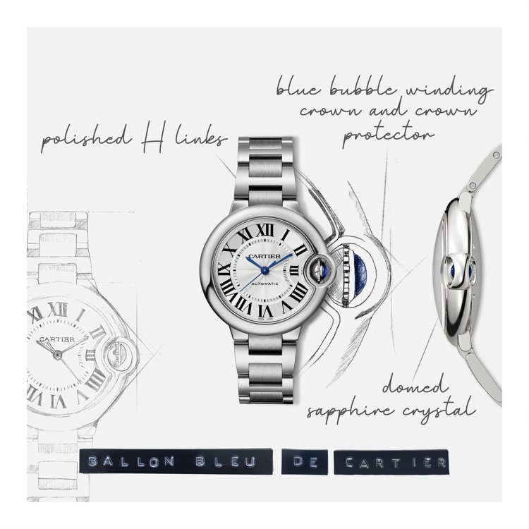 Ballon Bleu de Cartier腕表設計圖。圖/卡地亞提供