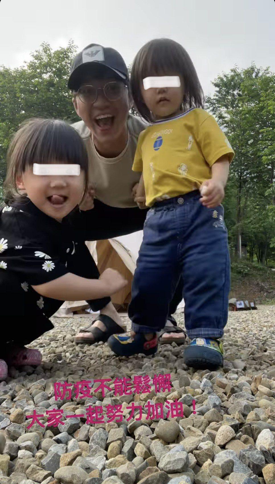 江宏傑今凌晨分享之前與一双兒女露營享天倫的影片。圖/摘自IG