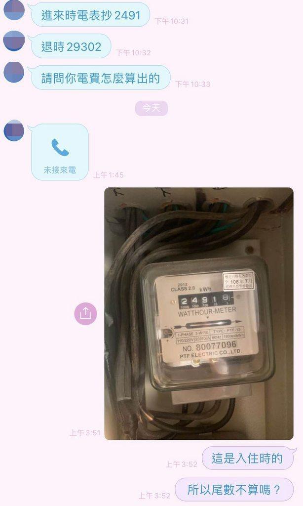 一名女網友被前房東追討電費,她PO出電表照片自清。 圖/翻攝自《Dcard》