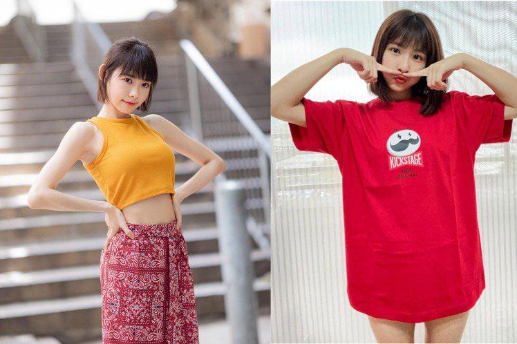 女星林明禎(左)因為有著傲人上圍,所到之處總成眾人焦點;人氣美少女峮峮(右)下半...