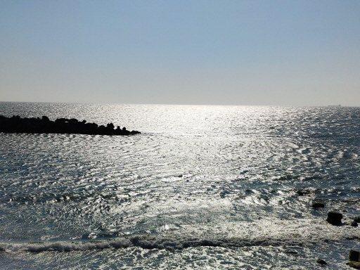 黃昏時刻,頂頭額汕旁台灣海峽風光閃亮迷人。 圖/謝進盛 攝影