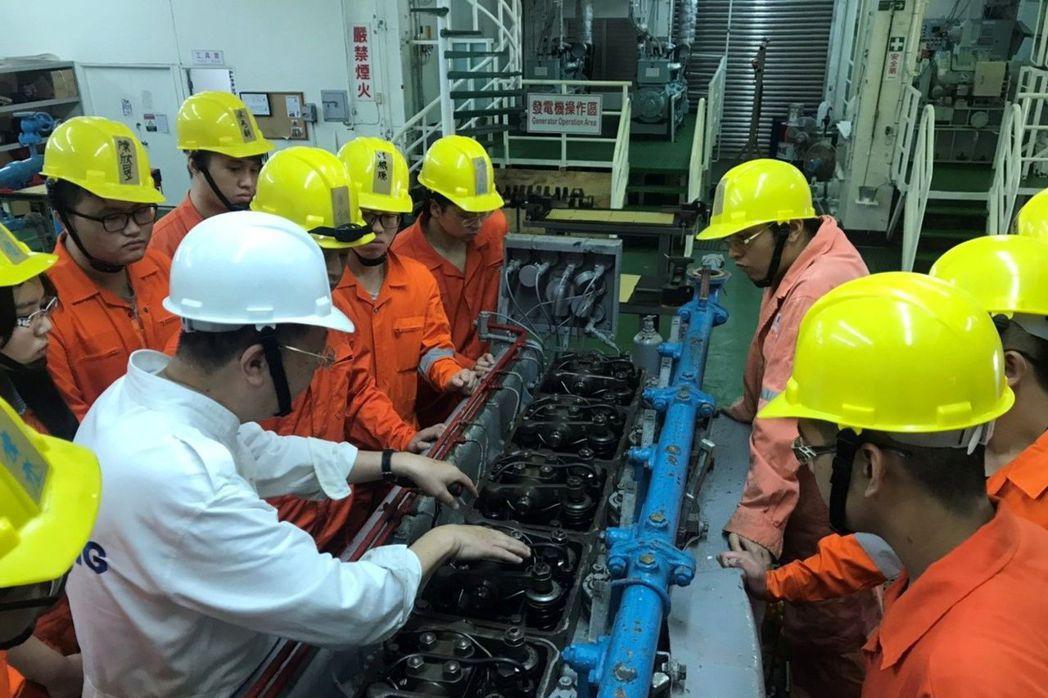 學生於輪機實習工廠學習船上各種機械的運作與維修 。 海大/提供