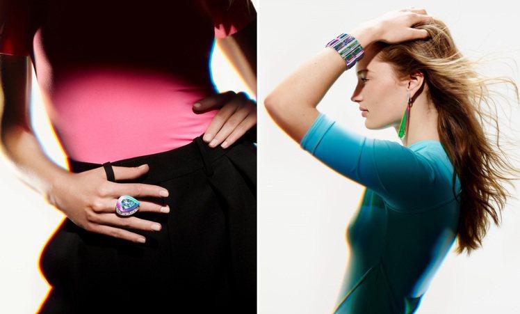 透過「全息」技術,賦予了珠寶宛如霓虹般難以預料、無法定義的七彩光燦。圖 / Bo...