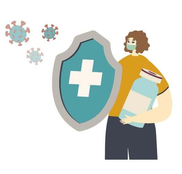 打完疫苗後,即使本身不會感染,若環境清潔消毒不完全,仍可能觸碰到病毒。圖/123...