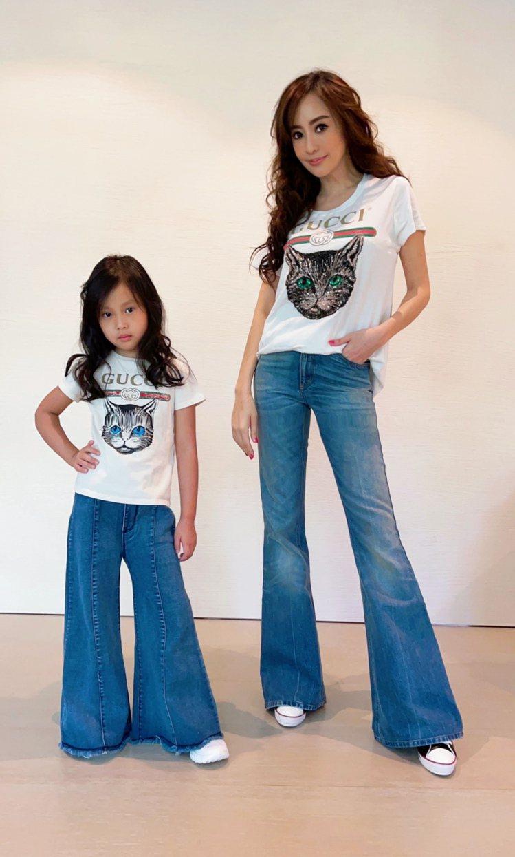 關穎女兒CC(左)代言品牌,媽媽當造型總監。圖/寬魚國際提供
