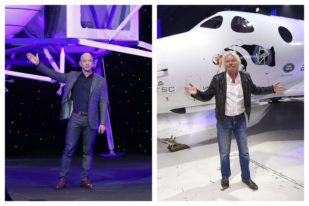 布蘭森(右)訂十一日搶在全球首富貝佐斯(左)前,搭乘自家太空船「團結號」上太空。...