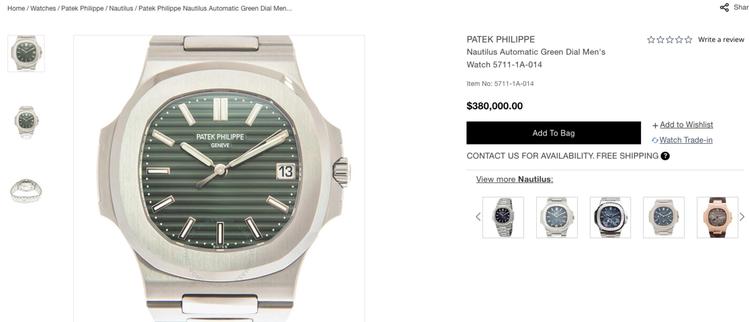 金鷹系列5711-1A腕表在拍賣網站Jomashop的標價約為1,064萬,對比...