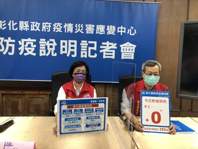彰化餐廳微解封維持有條件開放內用,彰化縣長王惠美(左)盼中央重新規範讓全國作法一致。記者林敬家/攝影
