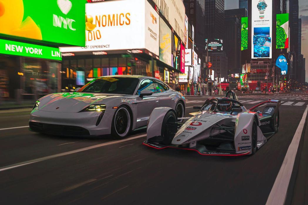 Porsche Taycan及99X Electric連袂現身紐約時報廣場。 圖...