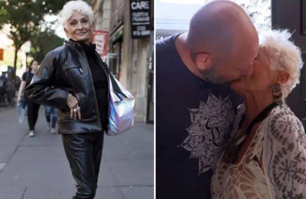 辣嬤現在是人生教練兼作家。右圖為她和39歲前男友熱戀時接吻。圖/取自thesun