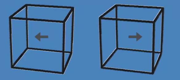 日本一位網友,利用視覺的錯覺效果,上傳了一張讓人誤以為立方體有在動的GIF圖片。圖擷取自twitter