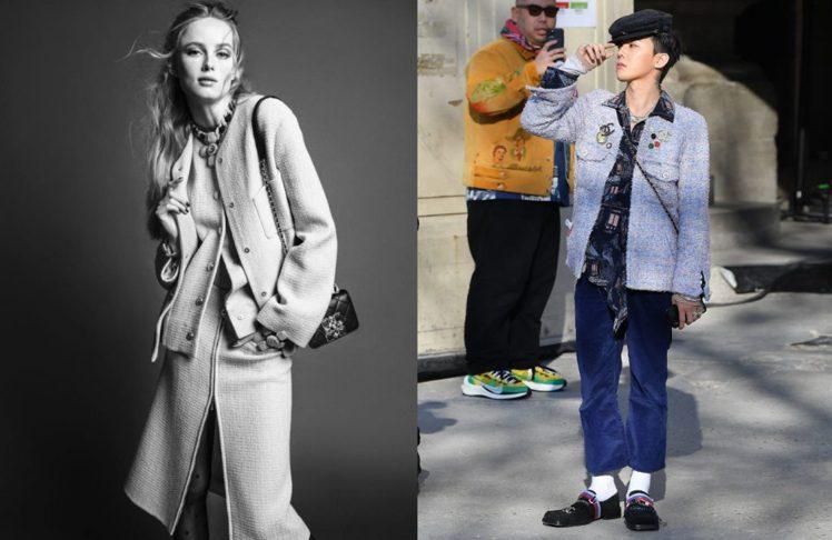 (左)2020 CHANEL秋冬女裝形象照、(右)GD多次在公開場合穿上CHAN...