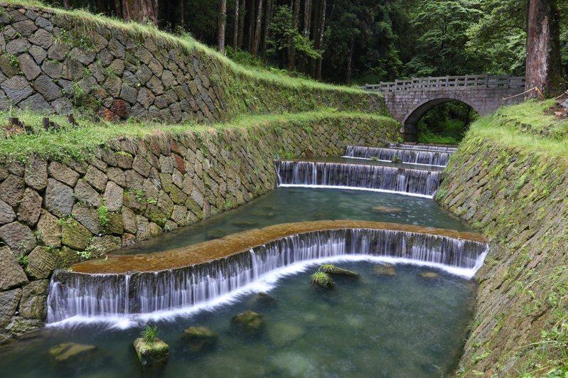 嘉義林管處說明,S型固床工,穩固河道且具備流線型美感,重現阿里山新八景「神怡流瀑」風光。圖/嘉義林管處提供