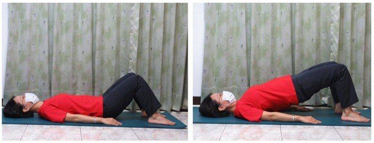 動作一,躺姿雙腿彎曲抬臀運動。圖/新竹台大分院提供
