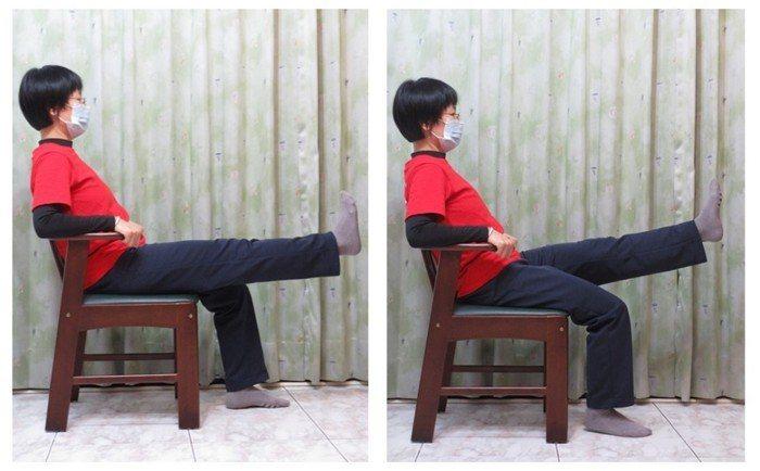 動作三,坐姿直膝抬小腿(左右腳輪流)。圖/新竹台大分院提供