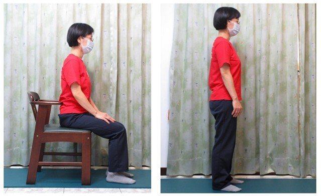 動作六,站姿坐下起立重複練習。圖/新竹台大分院提供