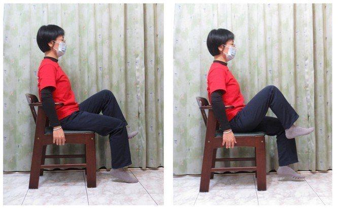 動作四,坐姿大腿輪流上提抬高左右輪流(好像坐姿走路)。圖/新竹台大分院提供