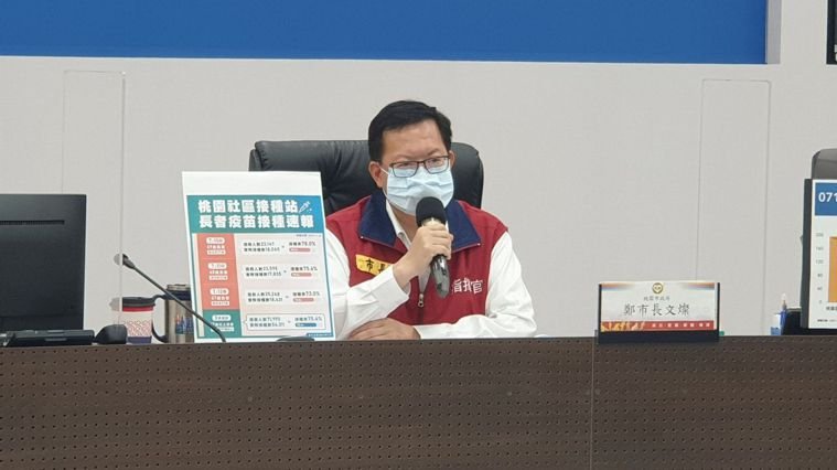 桃園市長鄭文燦說明新增1例確診者。圖/市政府提供
