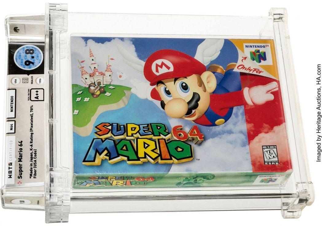 未拆封任天堂經典遊戲卡匣《超級瑪利歐64》11 日以 156 萬美元(約台幣 4...
