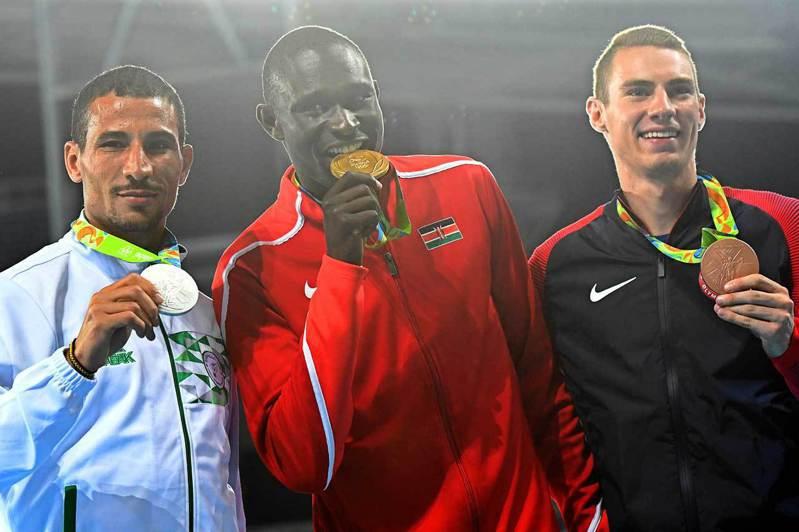 2016里約奧運男子800公尺前三名。 歐新社資料照片