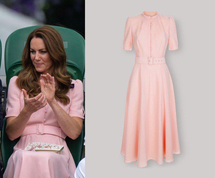 凱特王妃現身溫布頓男單冠軍賽時,身穿英國品牌Beulah的設計。圖/摘自face...