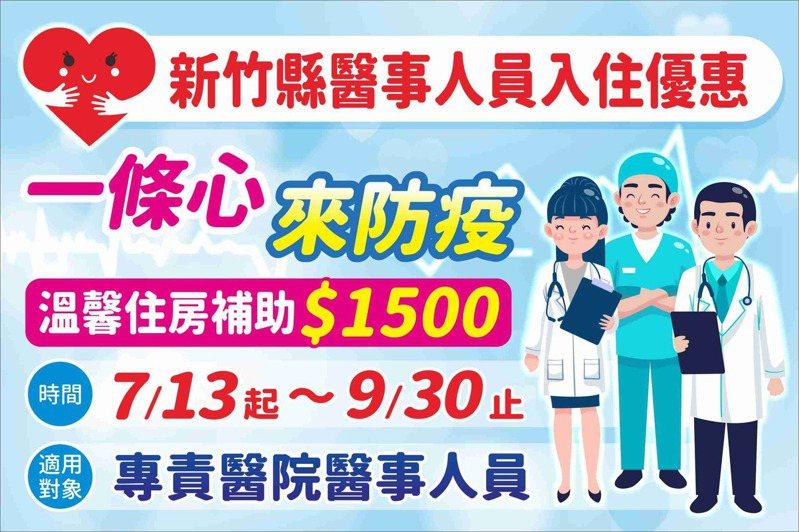 防疫醫事人員旅宿優惠專案即日起到9月30日止,每房補助1500元、限量1500間。圖/新竹縣政府提供