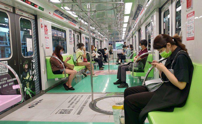 微解封首日,台中捷運載客量成長兩成二。圖/台中捷運提供