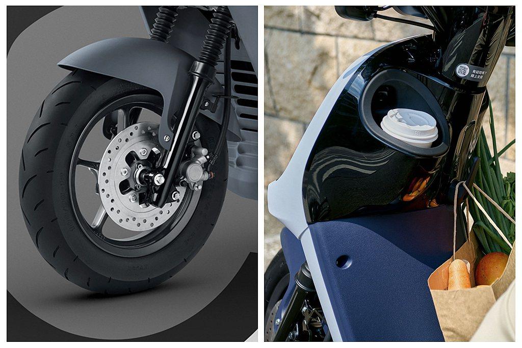 Gogoro VIVA XL搭載前後雙碟煞車,搭配SBS同步煞車系統,可有效縮短...