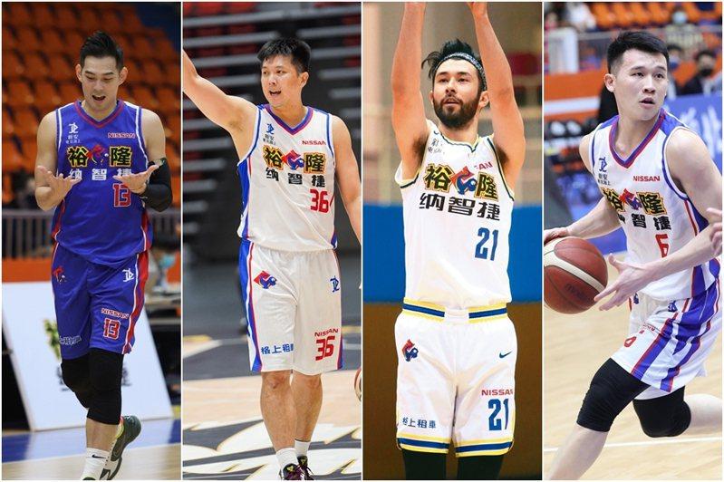 呂政儒、林宜輝、簡浩和李愷諺(由左至右)先後從SBL轉戰P聯盟。 聯合報系資料照、中華籃協提供