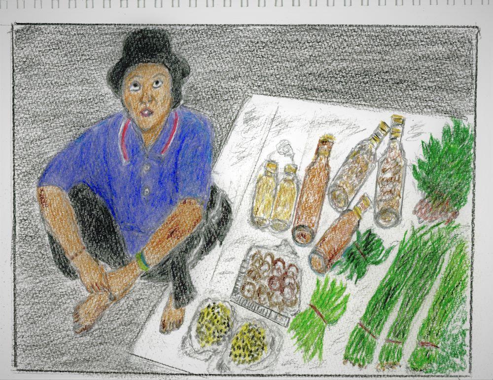 劉克襄拍下在玉里站賣菜的布農族婦人,傳給媽媽讓她依樣畫成圖。照片提供/劉克襄