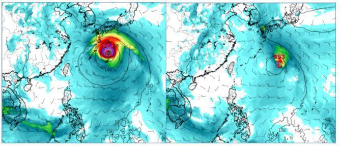美國(GFS)模式,模擬18日20時850百帕風場及地面氣壓場(左圖)與12日20時模擬18日20時(右圖)比較,季風低壓東側的熱帶擾動,調整得更強且更偏北。圖擷自tropical tidbits。圖/取自「三立準氣象.老大洩天機」專欄