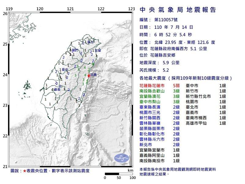 根據中央氣象局地震報告,目前花蓮已有12起地震,其中最大的是6點52分地震,規模達到5.2,花蓮市、鹽寮最大震度達5弱級。圖/中央氣象局提供