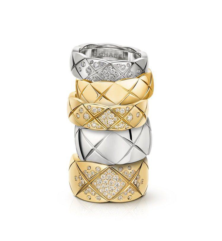 CHANEL Coco Crush系列戒指備有不同寬窄與材質的款式可選。圖/香奈...