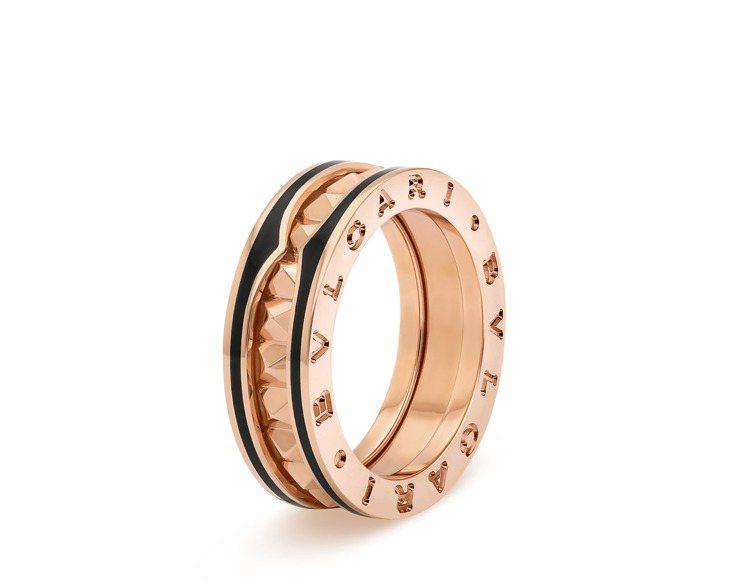 BVLGARI B.zero1 Rock系列玫瑰金黑陶瓷單圈戒指,64,200元...