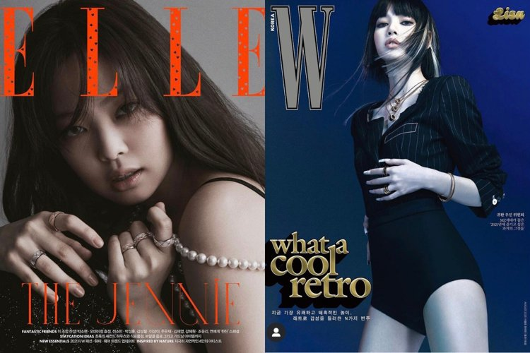 Lisa和Jennie分別登上新一期韓國時尚雜誌封面。圖/取自IG @wkore...