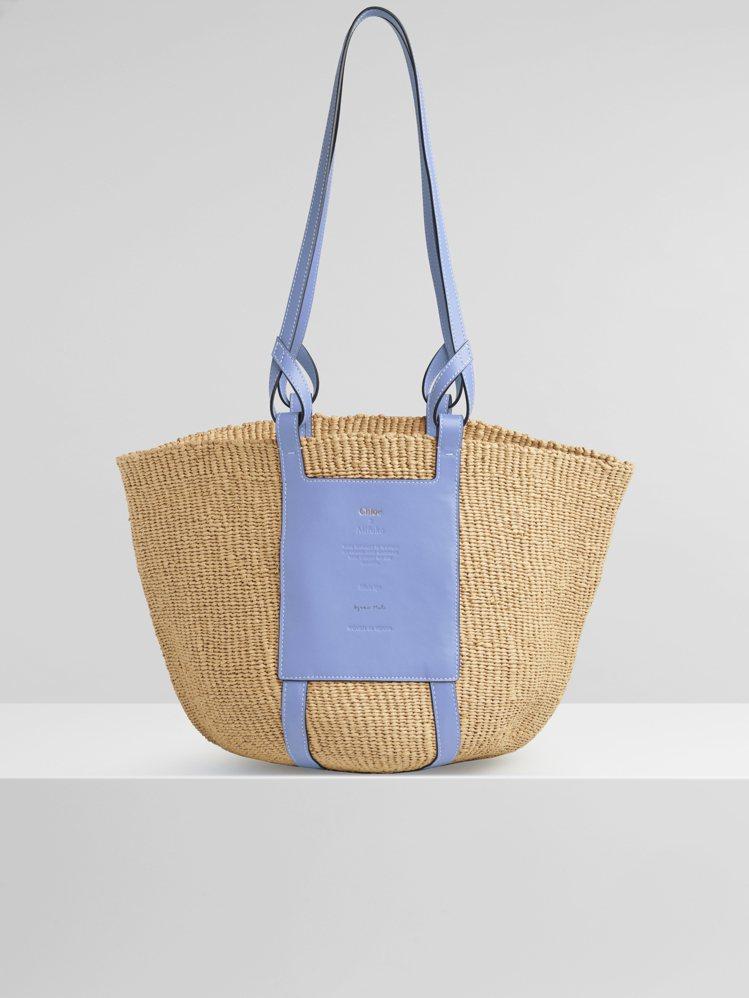 Basket柔和藍國際公平貿易組織合作編織包,27,600元。圖/Chloé提供