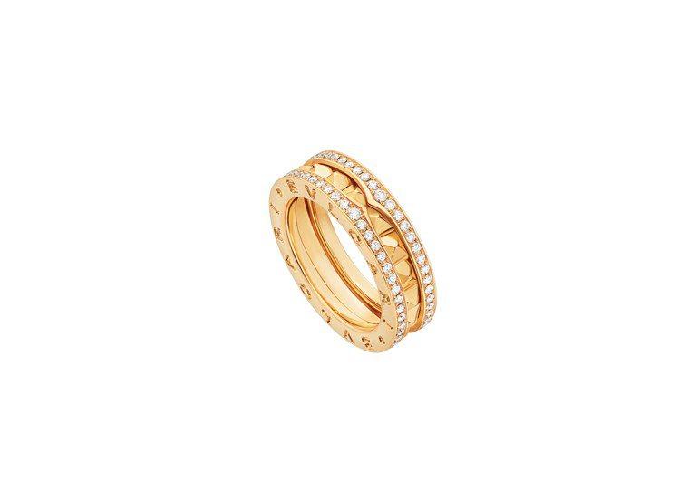 BVLGARI B.zero1 Rock系列黃K金單圈鑽石戒指,20萬100元。...