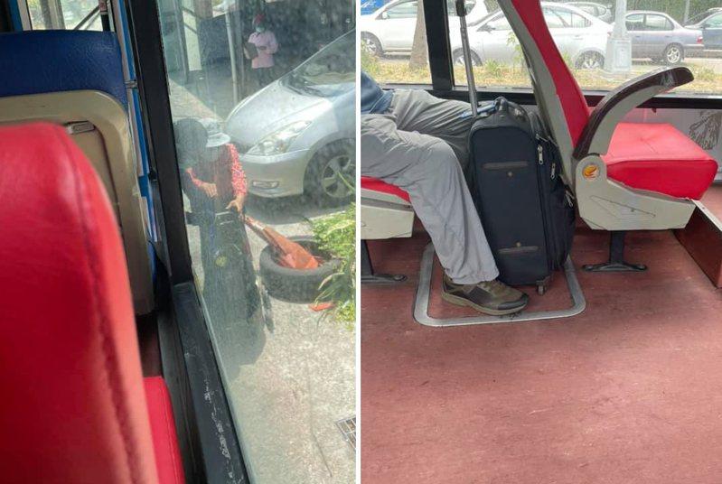一名公車司機不只幫老婆婆拿菜籃下車(左圖),還回站載行動緩慢的老先生(右圖)。 圖擷自臉書社團「新竹大小事」
