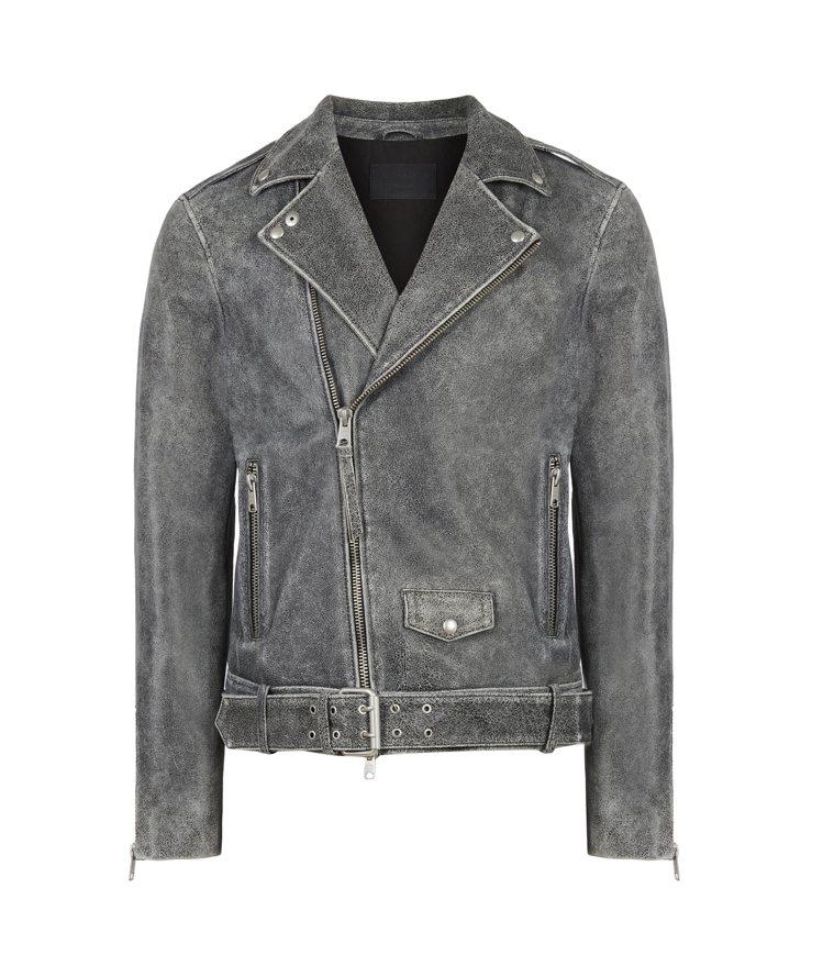 AllSaints Rashi復古刷色騎士皮衣22,500元。圖/AllSain...