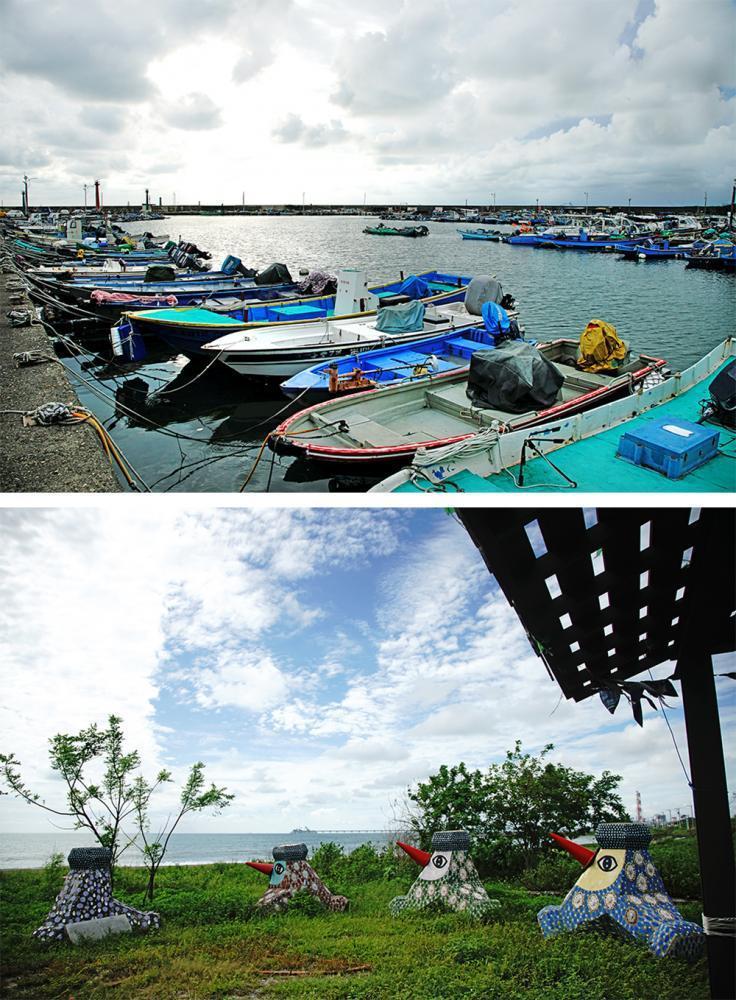 以永新漁港的防波堤與燈塔為背景,呈現寧靜優美的海灣景色。 圖/曾信耀 攝影