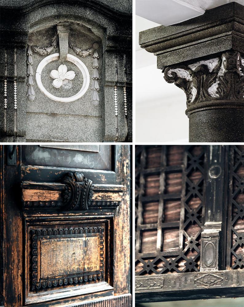 大門與木作隔間皆雕刻精美花紋,雖久經歲月卻不減風華。