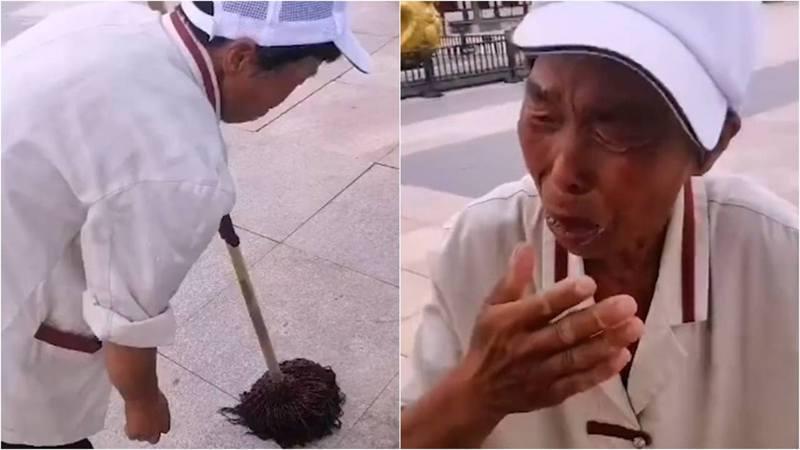 陝西旅遊景區的一名清潔員制止小孩隨地小便,卻反被家長罵哭。 圖/影片截圖