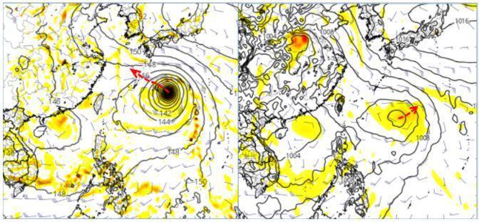 美國(GFS)模式模擬周日20時熱帶擾動已有颱風強度,在日本琉球東方海面(左圖),模擬路徑(紅虛線)向西北朝東海前進。歐洲(ECMWF)模式模擬同一時間,熱帶擾動在日本琉球東南方海面醞釀發展(右圖),未來則向東北遠離(紅虛線)。圖擷自tropical tidbits。圖/取自「三立準氣象.老大洩天機」專欄