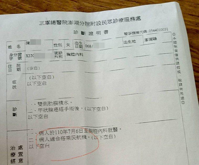 澎湖民眾控航空公司,要求就醫民眾要登機需持切結書及寫有「可搭民航機」字樣的診斷書...