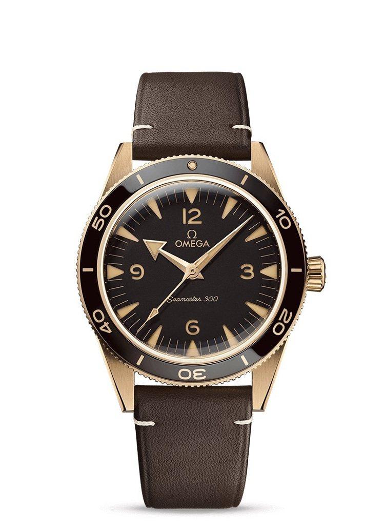 OMEGA海馬300系列同軸擒縱41毫米大師天文台青銅金腕表,37萬8,000元...