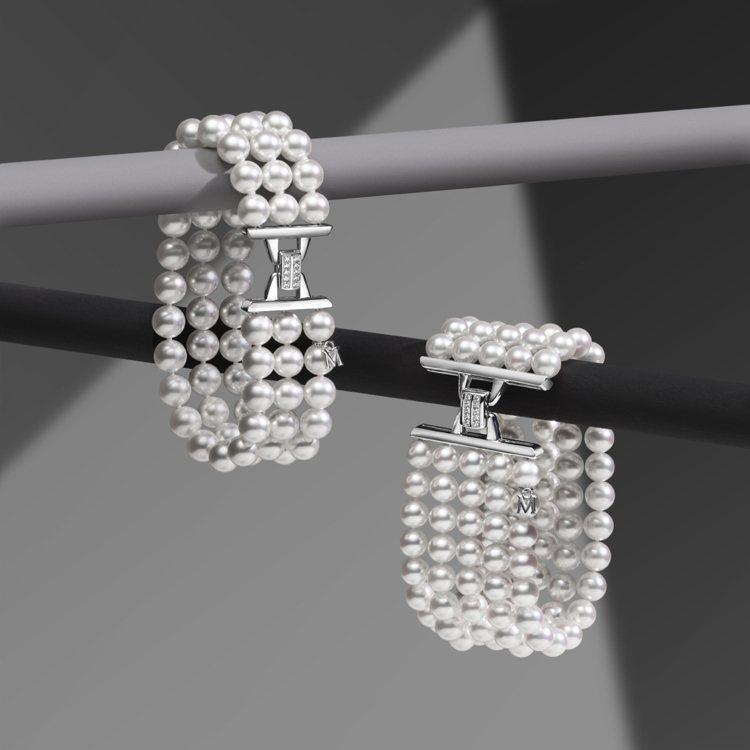 台北101獨家商品,MIKIMOTO日本Akoya珍珠五排式鑽石手鍊,40萬元。...