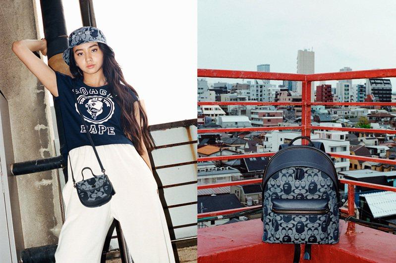 身兼「帶貨王」與品牌代言人的木村光希Koki詮釋Coach與BAPE®聯名系列。圖/Coach提供