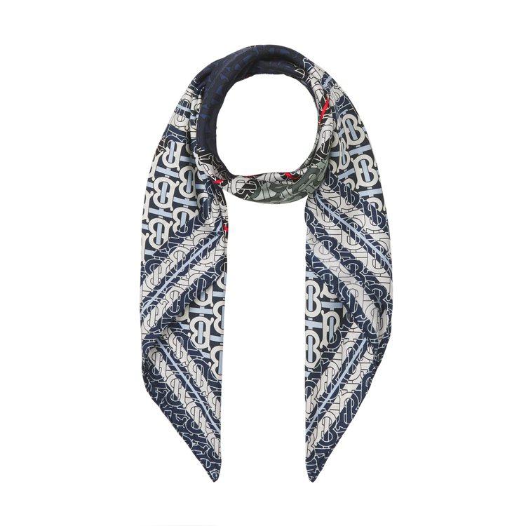 BURBERRY夏季TB花押字系列條紋印花絲綢寬版圍巾,價格未定。圖/BURBE...
