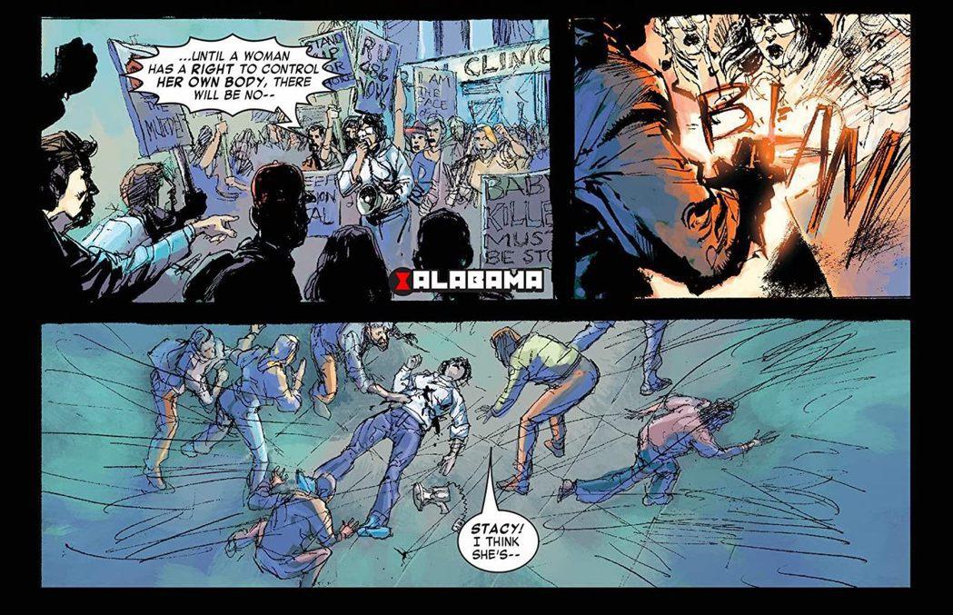 史黛西在一場與生命權支持者的衝突混亂中被殺害。 圖/取自comixology